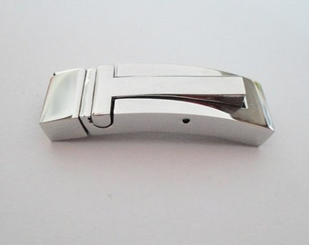 Stainless Steel 316 Push Down Latch Clasp, Flat Leather, 10mm, Jewelry Supplies, Finding, Silver