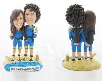 Scuba Diving Wedding Cake Toppers  - Personalised wedding cake topper  (Free shipping)