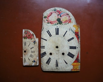 2 x Antique Wag on wall clock parts - wooden case parts - altered art - Steampunk supplies - Damaged clock dials - Steampunk - clock face