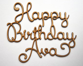 Personalised Happy Birthday Sign Cake Topper Laser cut wood