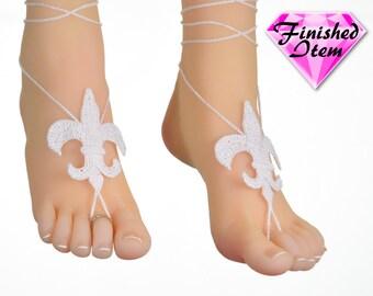 Barefoot sandals | wedding shoes | Fleur de Lis | White