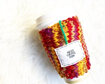 Coffee Travel Mug Cozy, Tea Mug, Womens Gift, Red Mug Cozy, Cup Cozy, Knitted Cozy, Personalized Mug Cozy, Tea Cozy, Knitted Coffee Mug Cozy