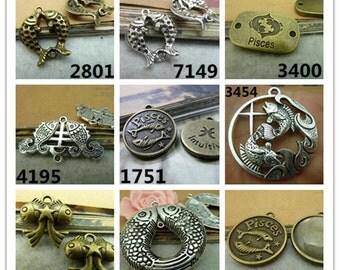 Antique Bronze Antique Silver DOUBLE FISH Pisces Charms Pendants Jewelry Findings