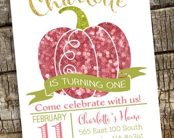 Pumpkin Invitation, Halloween Invitation, Printable, Glitter Pumpkin Invitation, Fall Birthday Invitation, Pink Pumpkin Birthday Invitation