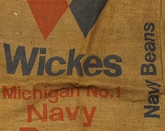 vintage jute sack Michigan Navy Beans USA (2)
