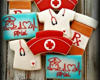 Nurse RN Health Care Decorated Cookies