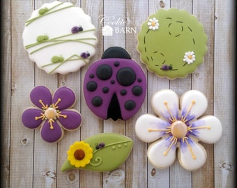 Ladybug Flower Summer Decorated Sugar Cookies