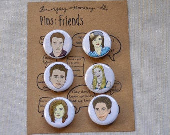 Friends Cast, pin button badges, magnets hand drawn illustrations