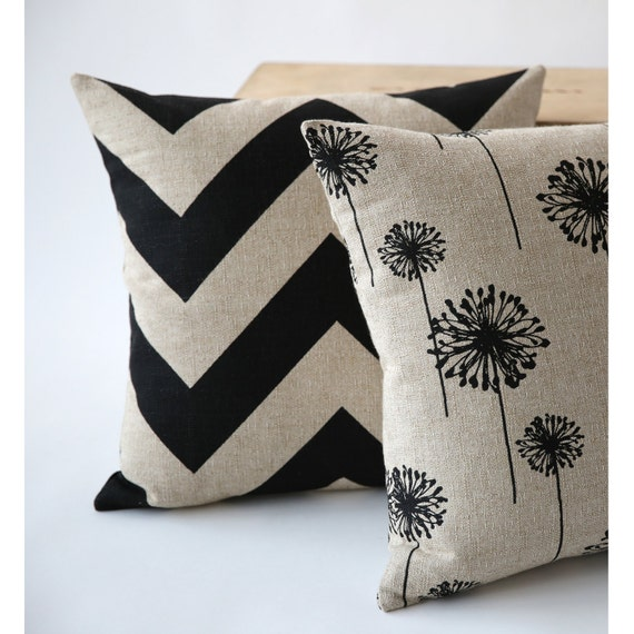 Decorative Pillow Covers With Zippers : One Decorative Throw Zipper Pillow Cover Black Chevron Suzani