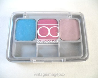1980s Outdoor Girl Max Factor 'Rio' eyeshadows set, turquoise pink colours, vintage make up, 80s cosmetics