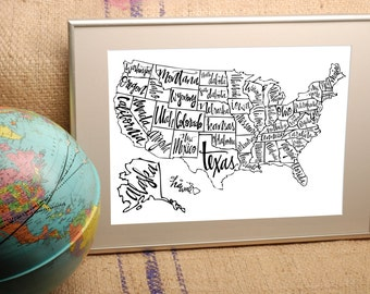 Black And White Calligraphy Map Of The United States