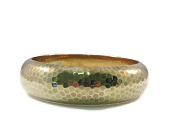 Brass Hammered Texture Bangle Bracelet