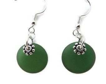 Kelly Green Earrings, Green Sea Glass Earrings, Bright Green Beach Glass Earrings,  Grass Green Dangle Earrings, Spring Green Earring