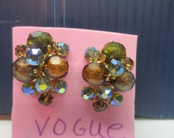 Vintage Vogue Clip Earrings With Aurora Borealis Beads and Copper Look Beads