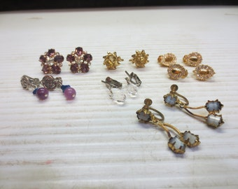7 Pairs Of Vintage Clip On And Screw On Earrings
