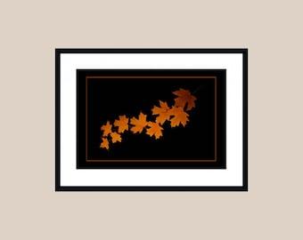 Maple Leaves Art Print - Fiery Orange Cascade of Red Orange Maple Leaves - Leaf Art - Botanical Art Print - Black Background - Wall Decor