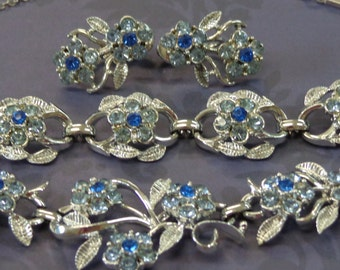 Vintage Necklace Bracelet Earrings Signed CORO Flowers Blue MINT Silver Tone