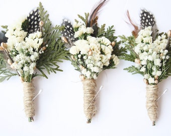 Gold Boutonniere woodland feather boutonniere white flower boho boutonniere Groomsmen winter buttonhole cedar lapel pin boutonniere JEREMY
