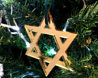 Set of 10 x Star of David Christmas Tree Decorations in Gold Mirrored Acrylic