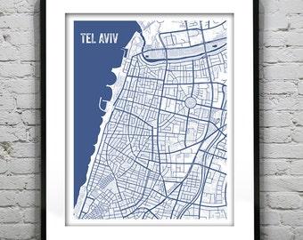 Tel Aviv Israel Blueprint Map Poster Art Print - Several Sizes Available