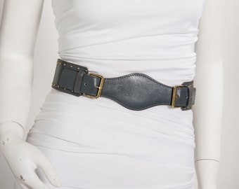 grey leather belt with gold studs vintage 1980s • Revival Vintage Boutique