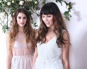 SIENNA - Bridal gown wedding dress - fairy tale bohemian dress with lace bodice and simple tulle skirt - ivory with guipiere lace