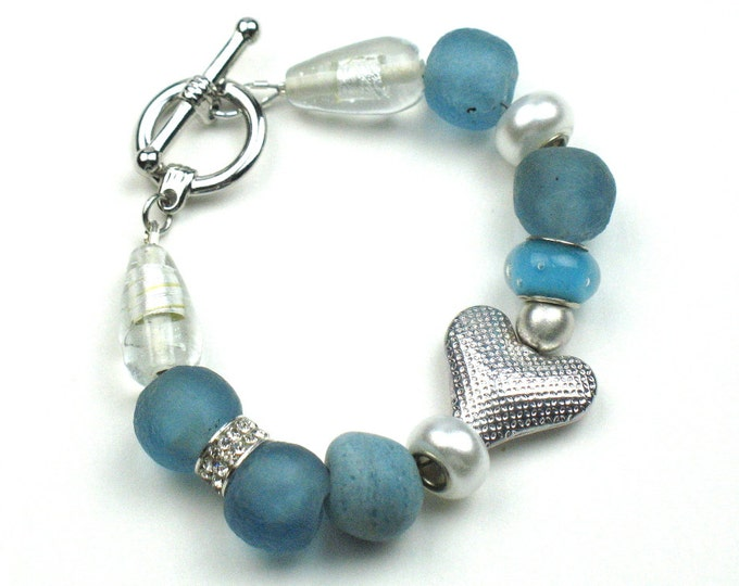 Beaded Bracelet with Blue Fair Trade African Glass Beads, Silver Heart and Toggle Clasp / Womens Gift for Her by elle and belle