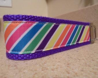 Rainbow Stripe Keychain FOB Wristlet
