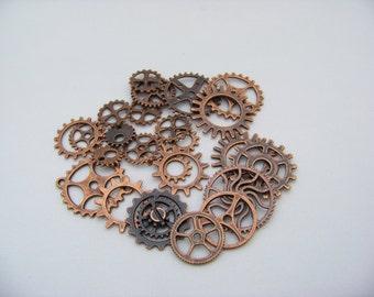 Antique Copper Gear Charms   4189
