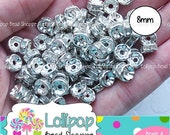 SALE 8mm CLEAR Rhinestone Rondelle Beads Bright Silver Spacer Beads Crystal Spacers 25-ct Silver Tone Metal Silver Plate Bubblegum Necklace