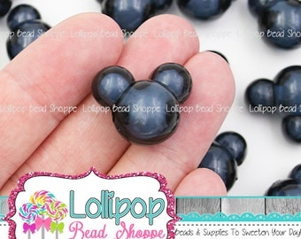 BLACK Mouse Beads 22mm x 18mm Chunky Beads Acrylic Mouse Head Beads Plastic Bubblegum Beads Bubble Gum Beads