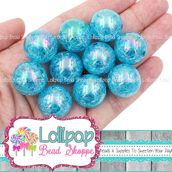 20mm Bead Beads: 20mm Turquoise AB CRACKLE Beads Wholesale Bubblegum Beads