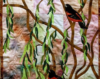 Hand painted fabric art quilt, wallhanging  - Orioless - fiber art