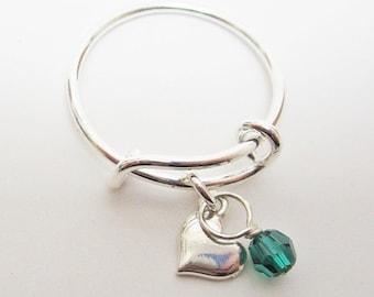 Heart Dangle Adjustable Stackable Ring