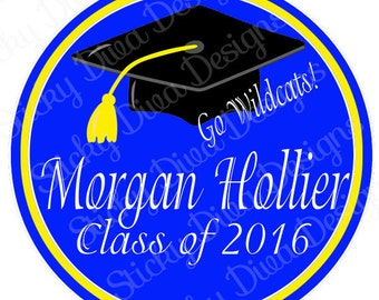 PERSONALIZED STICKERS - Custom GRADUATION Monogrammed Labels  -  Round Gloss Labels