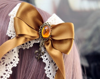 Hair clip brooch; Steampunk bow