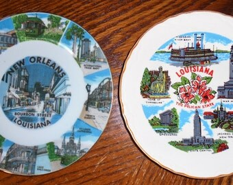 2 Vintage Souvenir Plates, State of Louisiana AND New Orleans, Bourbon Street, The Pelican State, Gold Rims, One With Hanger