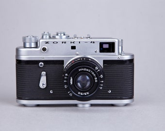 Vintage Rangefinder Film Camera ZORKI-4. 4TH VERSION. Lens Jupiter 8. With Case. Not working.