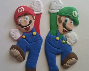 Mario and Luigi Nintendo Edible Fondant Cake Topper