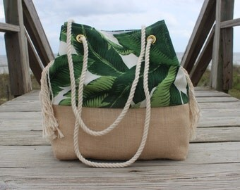 Palm Leaf Beach Bag - Personalized Beach Bag Bag - Monogrammed Tote Bag - Destination Wedding Bag - Greenery Bridesmaid Gift