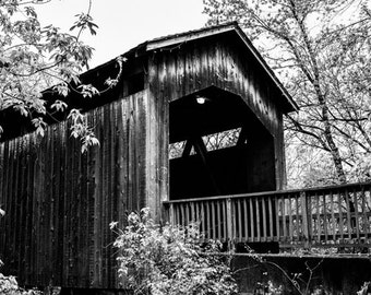 Black & White Photography - Covered Bridge 2 - fine art print wall photo home decor outdoors shadows contrast monochrome michigan