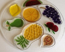 art glass vintage dish platter plate  cheese or cutting board with fruit design 28cm