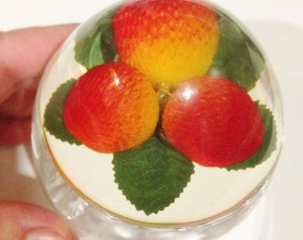 Vintage lucite plastic jam pot with strawberry fruit in the lid Perfect condition very retro