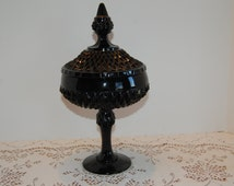 Black Diamond Pedestal Compote Candy Dish with Lid, Cameo,  Tiara Glassware