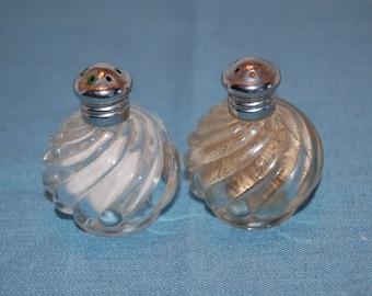 Vintage Salt Shaker,  Mini Salt and Pepper Shakers, Glass salt shaker, Round Swirled Salt Shaker