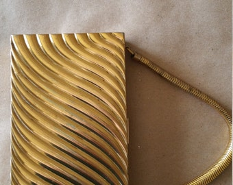 Vintage Gold Tone Carryall Hand Bag/Compact