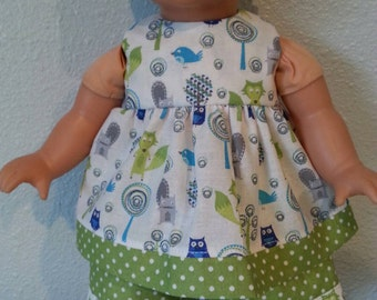 Handmade Cotton Doll Dress and shorts fits 12-14 inch dolls