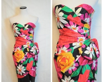 AJ Bari Vintage Floral Dress/ 80's strapless Wiggle dress/ XS
