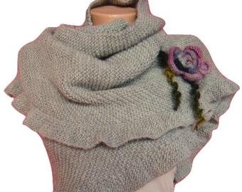 Gray Knit Shawl, Scarf, Hand knit Custom Ruffled Shawl, Scarf, For Her, Bridal Wrap, Ruffled Scarf Gray