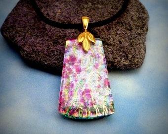 "Dichroic Glass Pink Aqua ""Flowers"" Pendant"